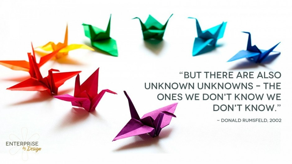 """But there are also unknown unknowns – the ones we don't know we don't know."" Donald Rumsfeld, 2002"