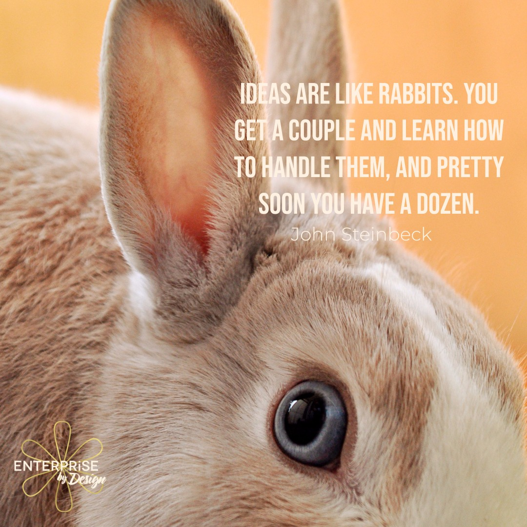 """Ideas are like rabbits. You get a couple and learn how to handle them, and pretty soon you have a dozen.""  John Steinbeck"